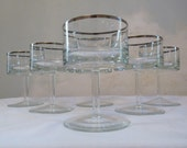 6  Vintage Silver Rimmed  Martini  Glasses Mid Century Modern Hollywood Regency  Mad Men Chic