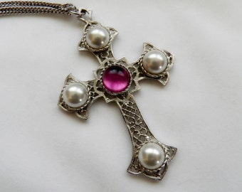 Sarah Conventry Cross Pendant Necklace