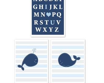 Navy Blue Whale Nautical Nursery I love You abc Baby Room Prints / Set of 3 / Whale Baby Gifts PRINTED