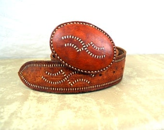 Vintage Mexican Tooled Leather Belt