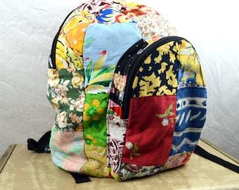 Crazy Vintage Rainbow Patchwork Handmde Bag Backpack Rucksack