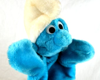 Vintage 1980s 80s Smurf Plush 1981 Collectible Hand Puppet