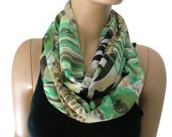 Chiffon infinity scarf,spring green ,brown and beige,chiffon infinity Scarf/ cowl Instant gratification-only one available