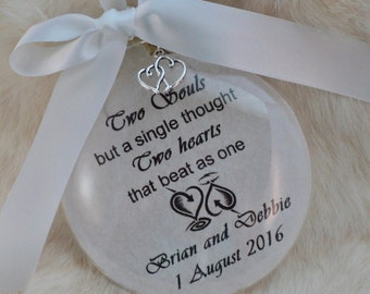 Ornament Bridal, Wedding, Two Hearts But A Single Thought