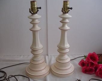 Metal Table Lamps Tole Gold Trim Vintage Pair of Lamps Toleware Shabby Cottage