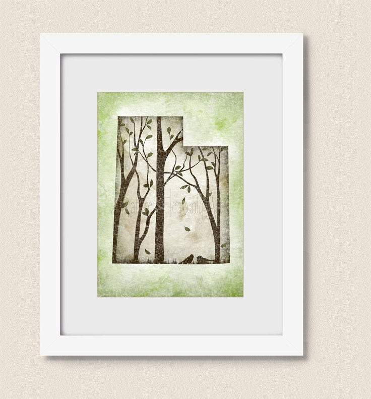 Wall Decor Green : Utah state art green wall decor print
