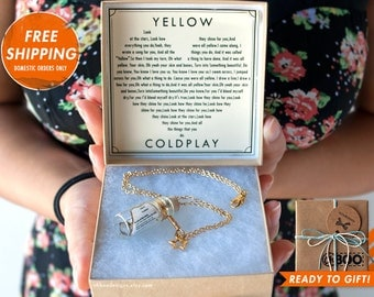 Romantic Song in a Bottle Necklace - Yellow by Coldplay - Coldplay - Bottle Necklace - Music Necklace - Anniversary - Gift Ready Ships fast!