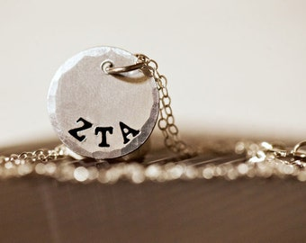 Official Licensed Sterling Silver Sorority Charm Necklace, Handcrafted, Greek Letters, Sorority Gift, Big, Little, Silver Chain