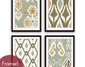 Ikat and Geometric Patterns (Series K2) Set of 4 - Art Prints (Featured in Copper & Grey Color Palette) Modern Vintage Home Decor