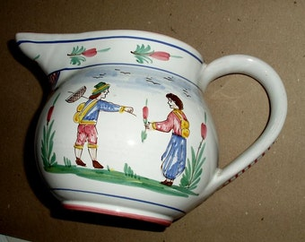 VINTAGE DERUTA PITCHER,Sberna hand painted ceramic Italy,flowers,people,red,blue,marigold,burgundyivory,brown,tableware