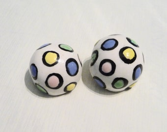 Vintage 1980s Memphis Style Hand Made Ceramic Clip Earrings