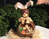Easter Bunny Basket Painted Gourds Candy Dish