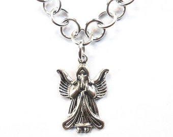 Silver angel necklace, Angel jewelry, Christmas angel necklace, Silver angel wings