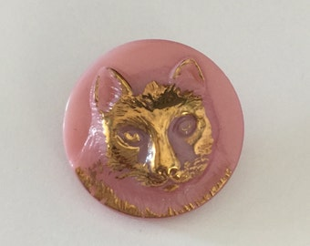 Czech Glass Cat Button - Gold Metallic on Milky Pink
