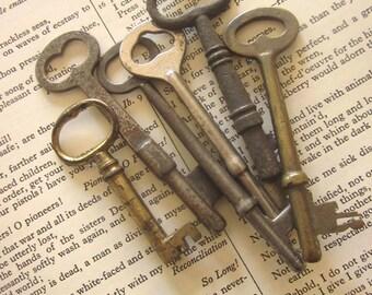 Antique Skeleton Keys Lot Vintage Lever Keys