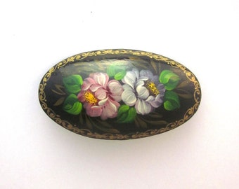 Vintage Rose Brooch Hand painted Rose Pin