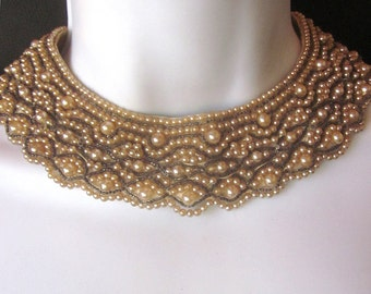 Vintage Beaded Pearl Collar Bridal Accessory Fabric Bib Necklace