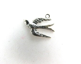 Sterling Silver Swallow Charm Small Etched Bird Vintage