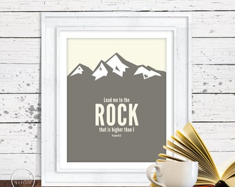 Psalm Mountain Art - Lead me to the Rock- Christian Art Instant Printable