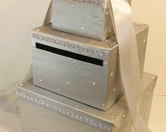 Wedding Card Box Silver Gift Card Money card Box Holder-Customize your color