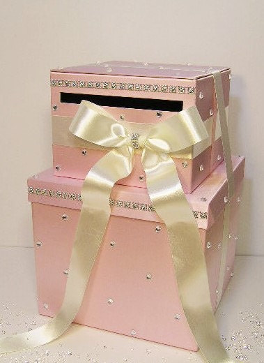 Large Wedding Gift Card Box : Wedding Card Box LARGE Size 2 Tier Light Pink and Ivory Gift