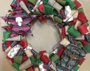 Ready to Ship Texas Ribbon Wreath , Cowboy Wreath , Western Style Ribbon Wreath