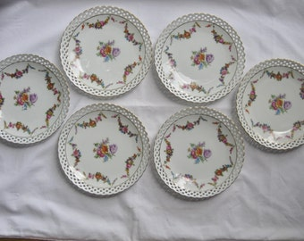 Vintage Collection of 6 Bavarian Schumann Porcelain Plates, Retriculated Pierced Rim Gold Trim, Floral Swag Garland Colorful Flower Bouquet