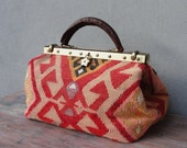 Kilim Bag, Leather Doctor Bag made with Vintage Kilim and Leather, Boho Tapestry Bag