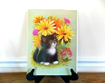 Cat Picture, Cat Print, K. Chin, Vintage, Illustration, Lithographs, 1970s, Kitten, Kitten Picture, Home Decor, Retro, Artwork, Black Cat