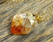 New Years SALE - Citrine Necklace, Citrine Pendant, Citrine Gold Necklace, Raw Citrine Point Necklace, 14k Gold Fill Chain