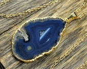 Valentine SALE - Blue Agate, Blue Agate Necklace, Agate Necklace, Blue Agate Pendant, Agate Slice Necklace, Agate Gold Necklace, 14k Gold...