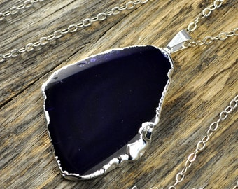 Agate Necklace, Purple Agate Necklace, Purple Agate Pendant, Agate Slice, Agate Slice Necklace, Silver Necklace, Sterling Silver Chain