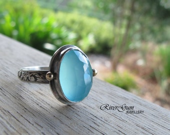 Aqua Chalcedony Ring, Chalcedony Silver Ring, Gold Accents, Gemstone Ring, Solitaire Ring, Size 9, Handmade by RiverGum Jewellery