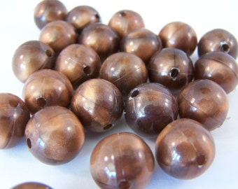 FREE SHIPPING - 22 pcs. Iridescent Brown Acrylic Beads (#2325)