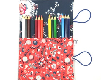 Mini Pencil Case - Recollection - art party favor, flower pencil roll, Bible Journaling, adult coloring, colored pencil holder