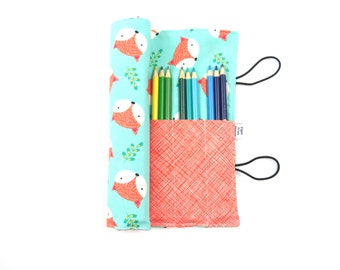 Pencil Roll - Fox Happy Camper -   pencil case, adult coloring, Bible journal accessory, animal colored pencil roll