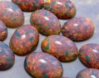 Pink fire Opal Cabochon Vintage Glass Stones 6 pcs 14x10mm S-16 P