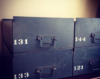 Army / Military Green Numbered Metal Drawers. Industrial Decor, DIY, Rustic.