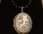 Skeleton Bride Victorian Cameo Locket Necklace with Real AAA Grade Pearls