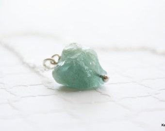 March Birthstone Gift , Aquamarine Gemstone Necklace , Handmade Jewelry