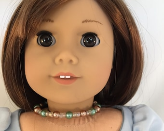 American Girl Sized Choker Necklace with Glass Beads  Brown and Green Pearls