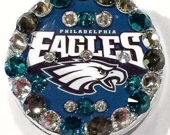 Philadelphia Eagles Swarovski Crystal Embellished Retractable Name Tag Holder ID Badge Reel