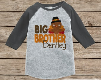 Big Brother Shirt - Sibling Shirts - Boy Turkey Outfit - Big Brother Tshirt - Boys Grey Raglan Tee or Onepiece - Big Brother Little Brother