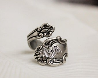 SALE Bat Spoon Ring Silver Victorian Gothic