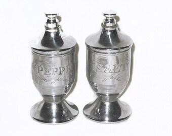 Pumper Metal Salt and Pepper Shakers, Vintage Pump Top Salt and Pepper Shakers, Norwich, Vintage Salt and Pepper Shakers, NewYorkMarketplace
