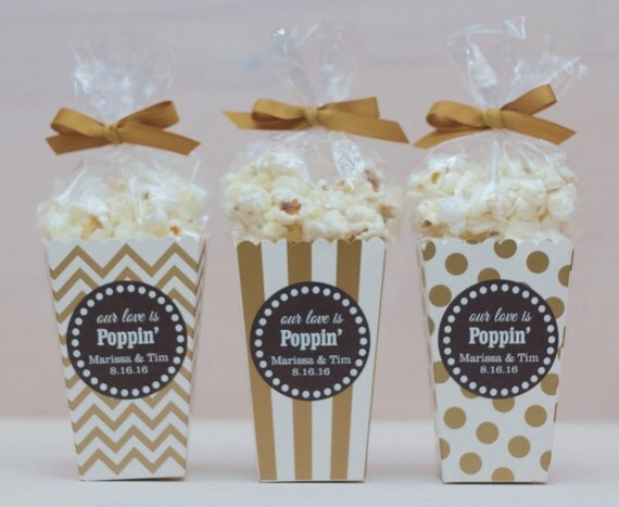 12 Custom Popcorn Box Favors Wedding Favors By Modernzebradesign