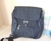 "Black Nylon Convertible Backpack and Cross Body Purse . 10"" X 9"" Black  Baggalini Fabric Organizer Shoulder Purse."