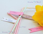 """180 Personalized Mini Banners size 5"""" - Drink Straw Flags - Ribbon Flags- Ribbon Banners - Pennants Flags -Cardstock mini banners"""