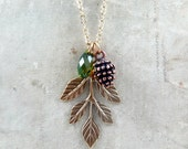 Pinecone Necklace, Leaf Necklace,Nature Jewelry,Autumn Wedding, Bridesmaid Gifts, Leaf Pendant, Pine Cone Necklace