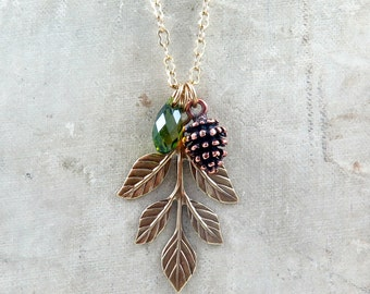 Pine Cone Necklace, Leaf Necklace, Pinecone Necklace, Autumn Wedding, Bridesmaid Gifts, Leaf Pendant, Pine Cone Jewelry